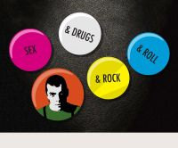 Ian Dury Sex & Drugs badges set