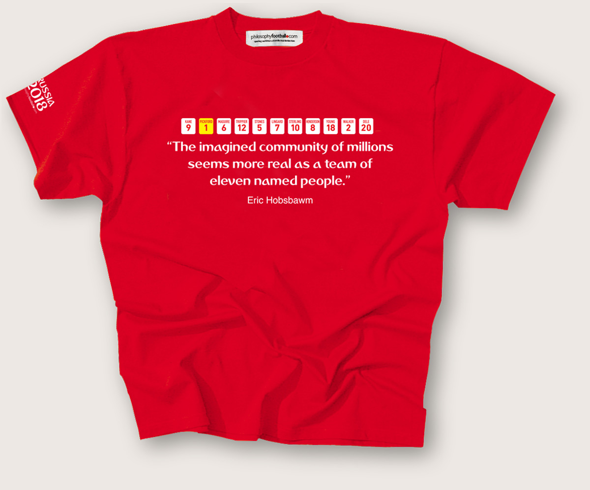 3ecca4d8d288 Mark Perryman is co-founder of Philosophy Football, AKA 'Sporting  outfitters of intellectual distinction. Our 'imagined community of  millions;' T-shirt is ...